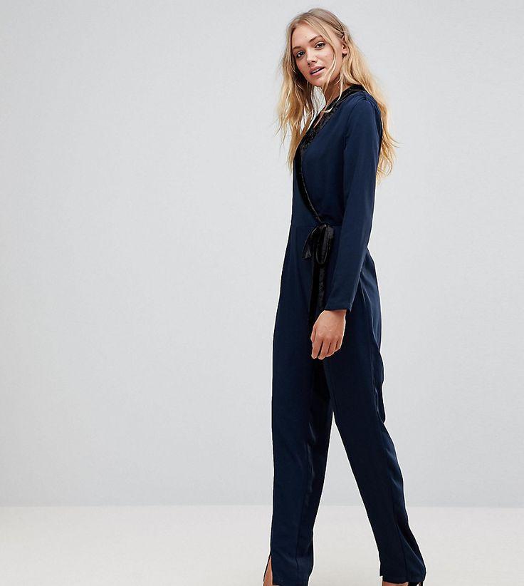 Vero Moda Tall Wrap Tie Jumpsuit - Navy