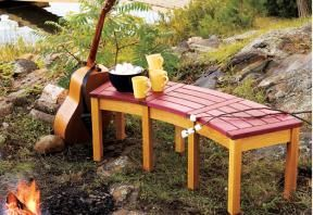 Fireside Curved Bench - need several of thes... the the design might work... wish it had a back.