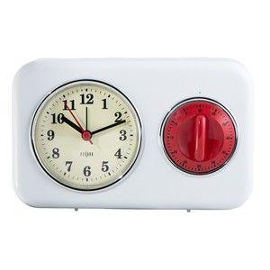 Kuchynské hodiny s minútkou White Vintage
