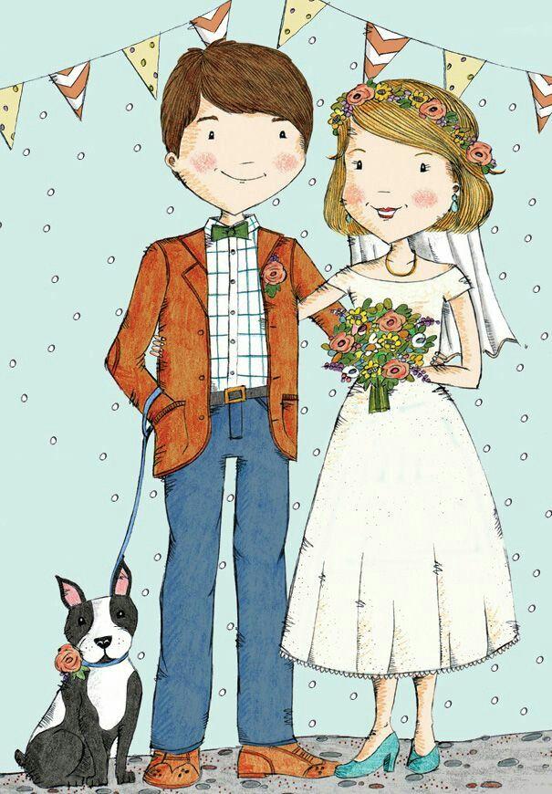 Открытки для свадьбы нарисованные, днем