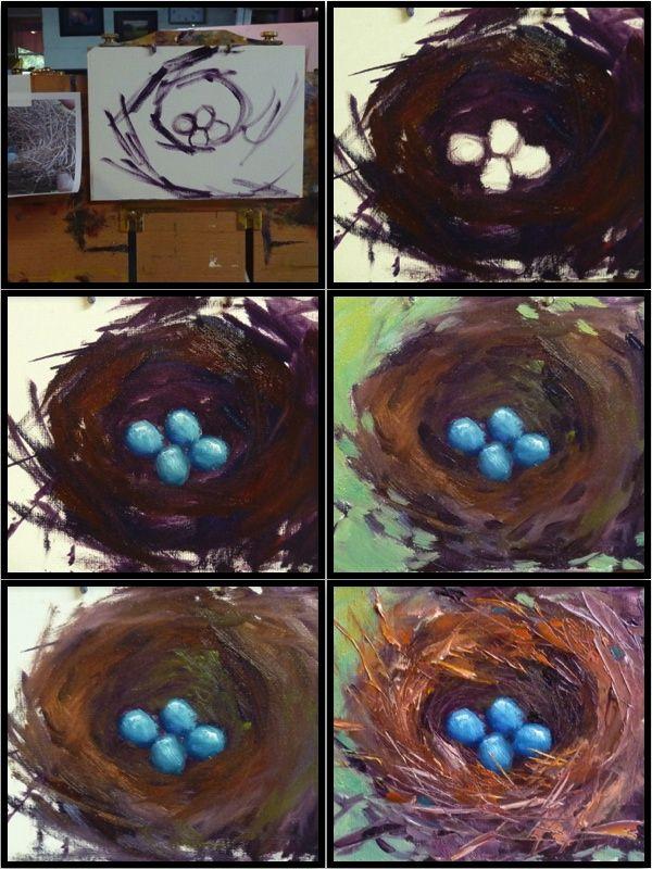 Painting demo....bluebird nest by Karen Margulis
