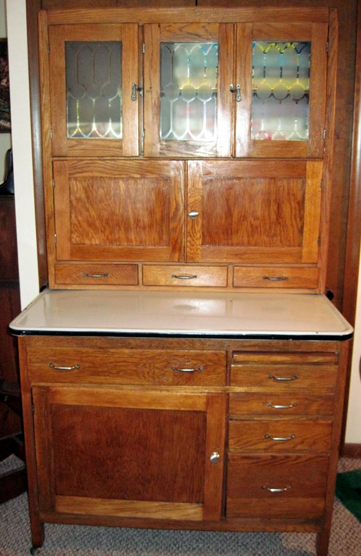hoosier cabinet photos | Here it is now, restored to its original golden oak finish: