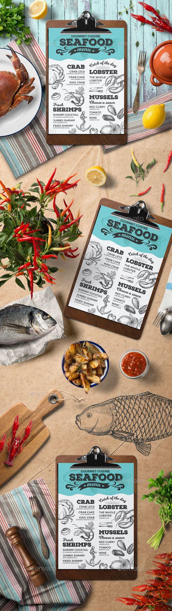 Seafood Menu Template — Photoshop PSD #8.2x11.6 #shrimp • Download ➝ https://graphicriver.net/item/seafood-menu-template/19660360?ref=pxcr