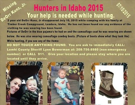 GoFundMe started for private search for missing Idaho toddler Deorr Kunz Jr