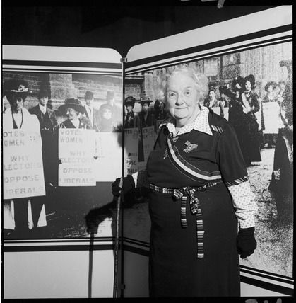 Former suffragette, Connie Lewcock. A government exhibition was staged inside…