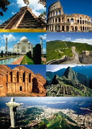 Seven Wonders of the World     1. Chichen Itza, Mexico    2. Colosseum, Italy   3. Taj Mahal, India   4. Great Wall of China, China   5. Petra, Jordan   6. Machu Pichu, Peru   7. Christ the Redeemer, Brazil  Honorary: Great Pyramid of Giza  http://saeokeu.experienceba.com