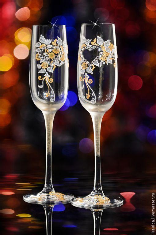 """Купить Свадебные бокалы """"Orerio"""" - золотой, бокалы для свадьбы, бокалы для молодоженов, подарок на свадьбу"""