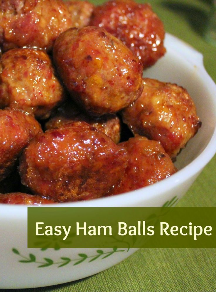 One of my family's favorite things to eat is ham balls . This sweet, tangy pork recipe is perfect for holiday dinners, potlucks, or any t...