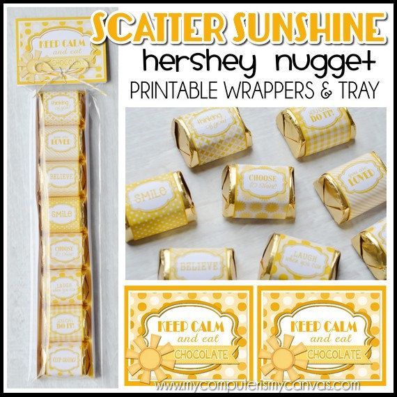 Scatter Sunshine, box of sunshine, Nugget Wrappers with printable tray and tag.  Great for encouraging someone who needs a lift! Each wrapper has an encouraging sentiment including: thinking of you, you are loved, you can do it, believe, keep going, choose to shine, smile, laugh when you can... #mycomputerismycanvas