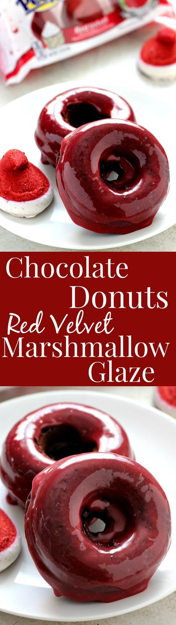 Baked Chocolate Donuts with Red Velvet Marshmallow Glaze - easy yet festive treat for the chocolate and red velvet lovers!