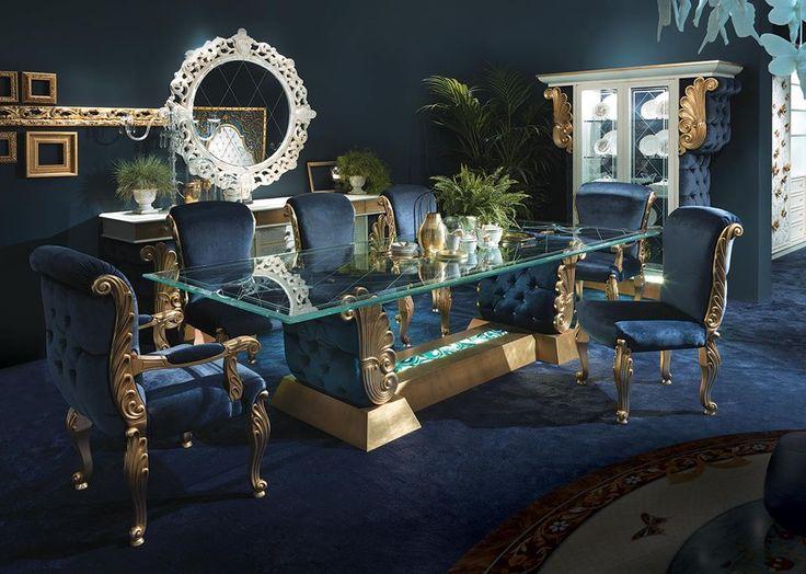 Klassischen Möbeln, Italienische Möbel, Klassische Italienische, Rokoko,  Shabby Chic Innenräume, Innenarchitektur, Pfau Farben, Modelle, Speiseräume
