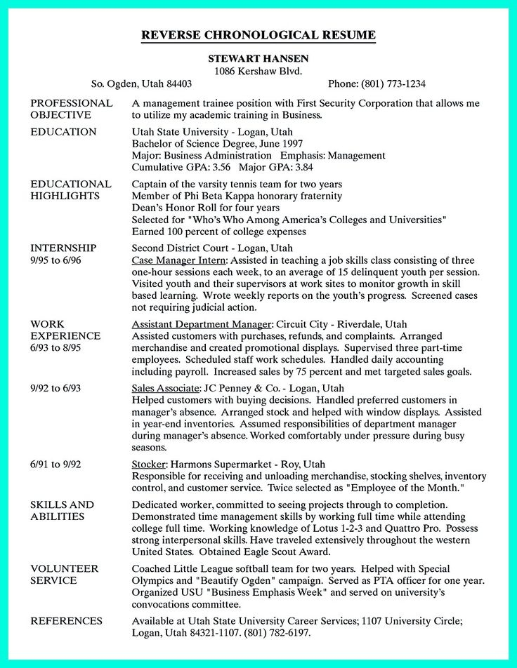 chronological order resume example the reverse chronological resume example - Examples Of Chronological Resumes