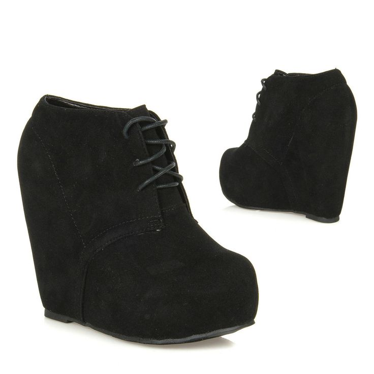 New Lace Up Hidden Platform Ankle Wedge Bootie Boot CAMILLA-1 BLACK #Glaze #FashionAnkle