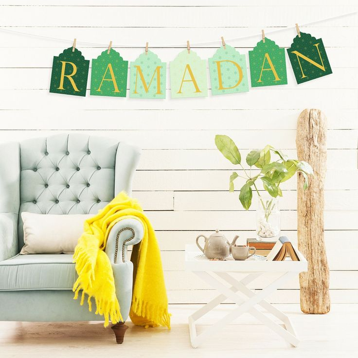 """Welcome Ramadan with this beautifully designed """"Ramadan"""" garland. The different shades of greens in the Ramadan banner evokes a calm and serene environment. Our elegant Ramadan banner is a great way t"""