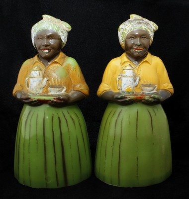 Vintage Black Americana F F Luzianne Coffee Mammy Salt Pepper Shakers