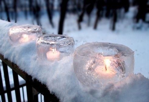Candles in the snow. Clever idea for Imbolc.