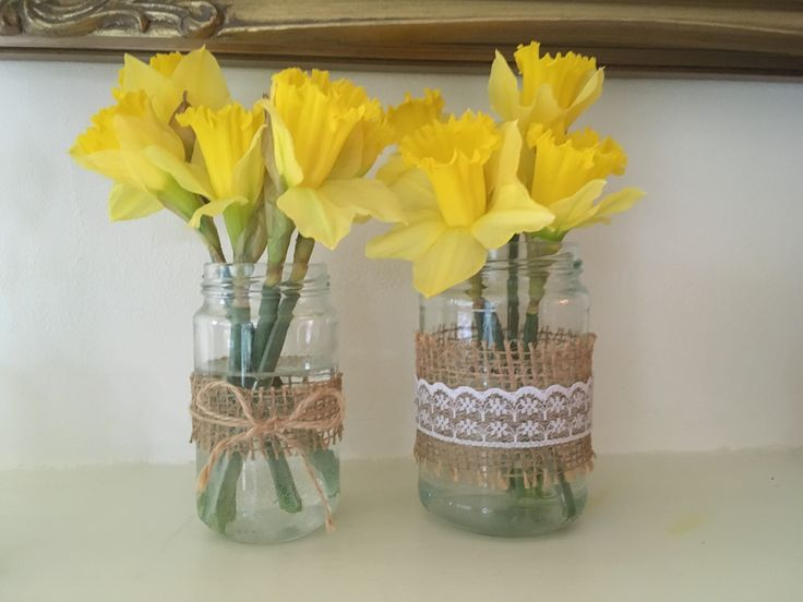 Hessian vases and jars, great for holding springs first blooms  http://etsy.me/2n9dFX0  #hessianvases #vintagehomedecor #springsfirstblooms #smallvases #weddingcentrepiece