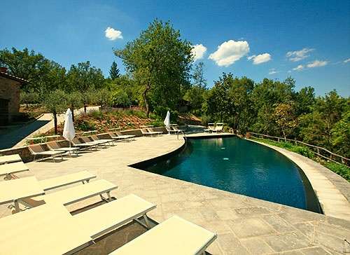 Exclusive residences Fraschino. The image is of the new pool. A unique holiday in Tuscany at Fattoria Celli, Poppi, Casentino