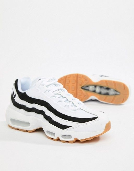 size 40 66c77 0d8a2 Nike – Air Max 95 – Vita sneakers med svart ton i 2018   Wishlist 2018    Pinterest   Shoes, White nikes och Nike