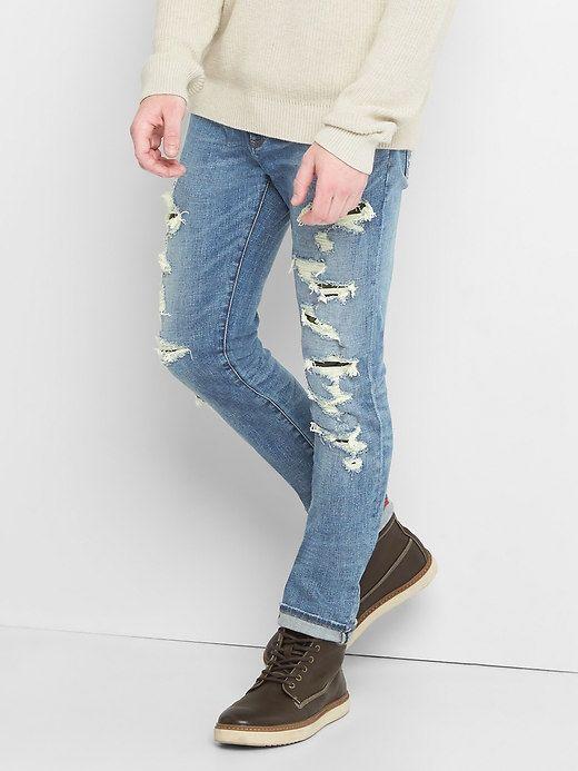 Gap Mens Skinny Fit Destructed Jeans (Stretch) Medium Destroy