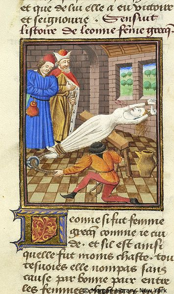 De Mulieribus Claris:  Leaena tortured | Literary | France, probably Paris or possibly the Loire region | ca. 1460 | The Morgan Library & Museum
