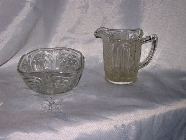 Clear Crown Crystal Depression Glass Diamond and Arches Milk Jug and Bowl