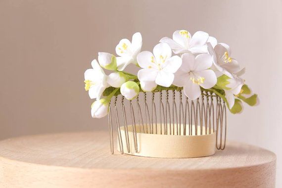White cherry blossom Hair comb polymer clay by FloraAkkerman
