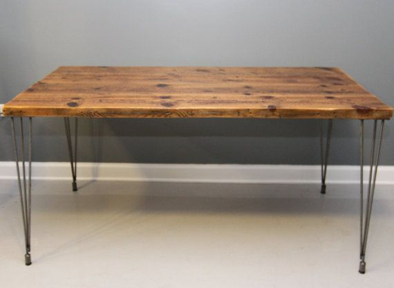Reclaimed Wood Urban Dining Table w\/ Hairpin Legs. by DendroCo, $520.00  Home  Pinterest