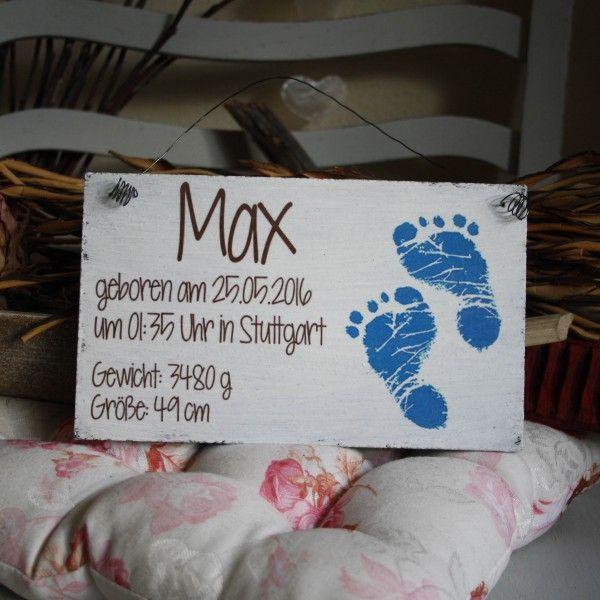 Shabby Chic Holzschild - Geburts-Schild Junge Füße