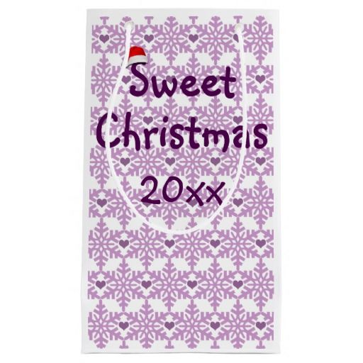 Snowflake heart pattern in purple-lavender color, Sweet Christmas Small Gift Bag - Custom date. #fomadesign