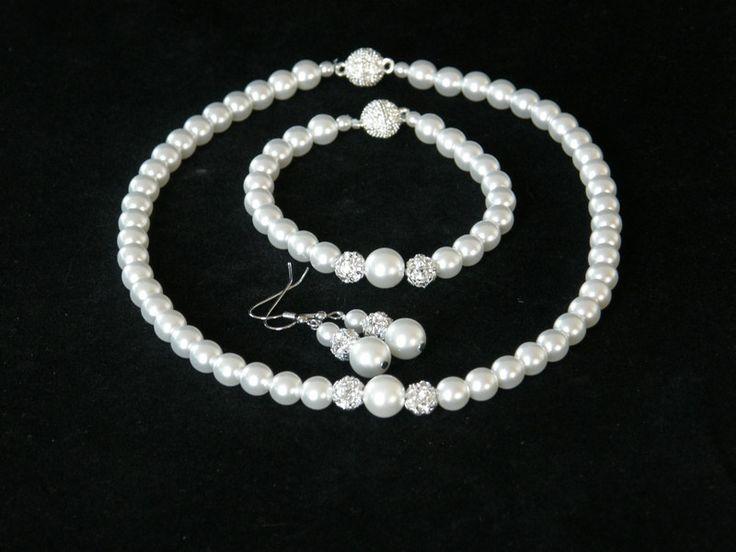 Brautschmuck - Perlen Brautschmuck Set Ohrringe Armband Kette  - ein Designerstück von Candelita123 bei DaWanda