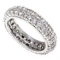 4CT ROUND LAB DIAMOND PAVE WIDE ETERNITY BAND RING SZ 5-10 $34.99