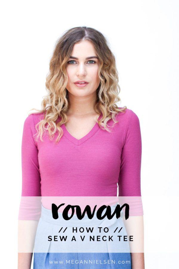 megan nielsen design diary: How to sew a V neckline on a tee or bodysuit // A Rowan tutorial