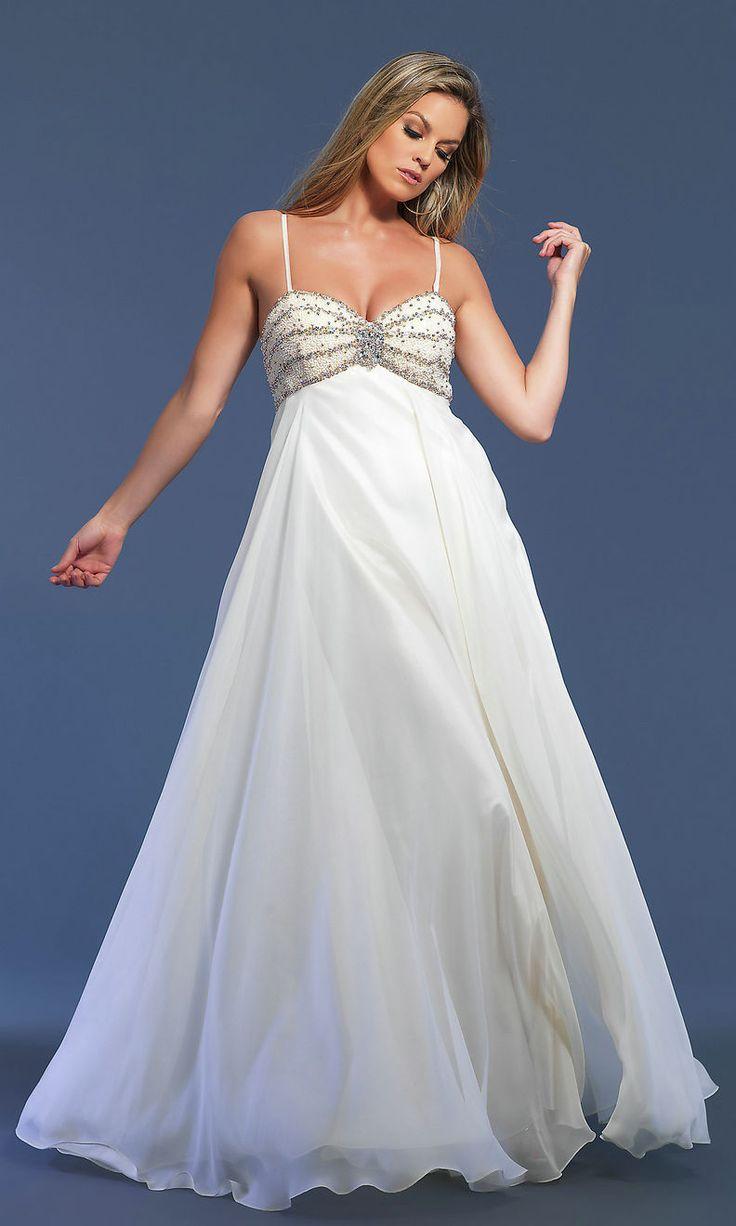 Pärlstav Bodice Chiffong Sweetheart Spaghetti Elegant Långa vita Balklänningar