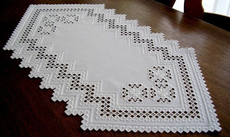 HARDANGER Embroidery - elegant white table-runner - handmade from Germany