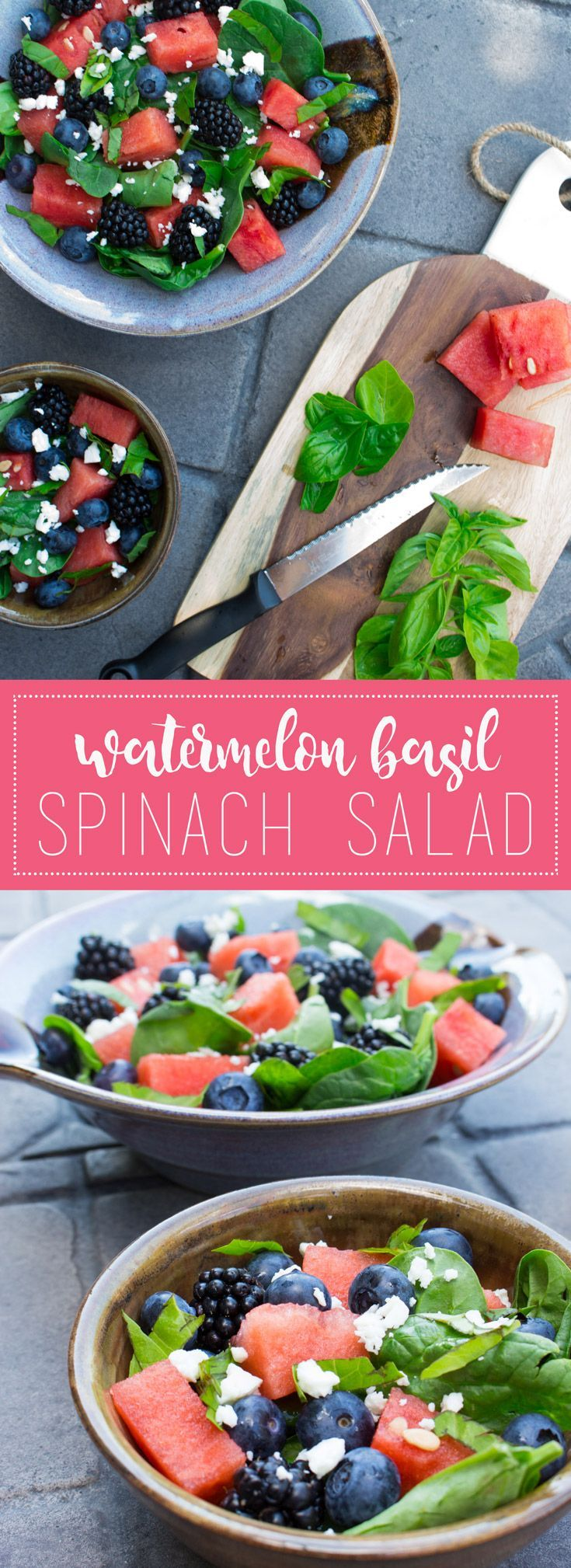 The freshest #summer #salad - crisp, cold, delicious... not to mention pretty! http://www.savourandshine.com/watermelon-basil-spinach-salad/
