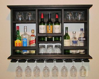 Mini Bar Black Stain Wine Rack 3 X2 Liquor Cabinet Minimalist Style Wall Mounted