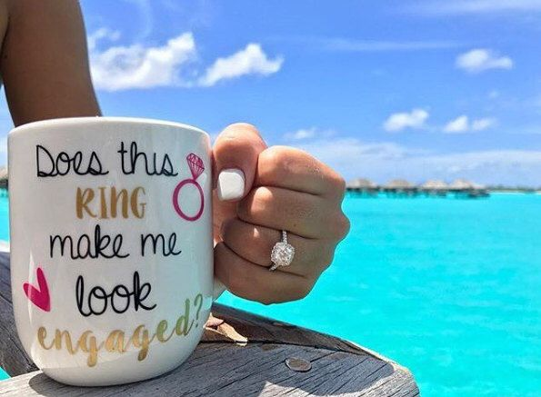 Does This Ring Make Me Look Engaged Coffee Mug, Engagement Gift for her by BrinnyKDesign on Etsy https://www.etsy.com/listing/250700667/does-this-ring-make-me-look-engaged