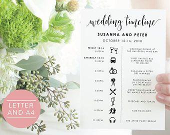 Wedding Timeline-Editable Timeline-Wedding Schedule-Order of Events-Wedding Day Timeline-Printable Wedding Itinerary-Editable PDF-#SN022_FP