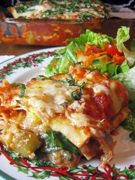 Roasted Vegetable Lasagna, I have a great lasagna recipe but this looks yummy and no meat, nice presentation!