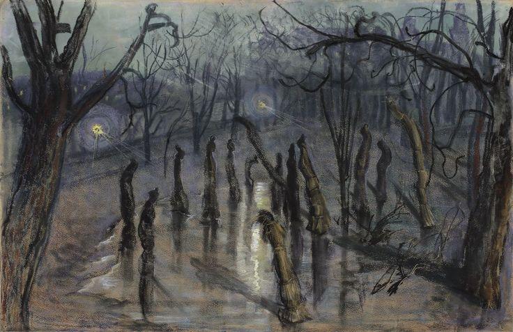 """Stanisław Wyspiański (Polish, 1869-1907) The Mulchs (""""Planty"""" at night) (Chochoły), 1898 National Museum of Art, Warsaw, Poland"""