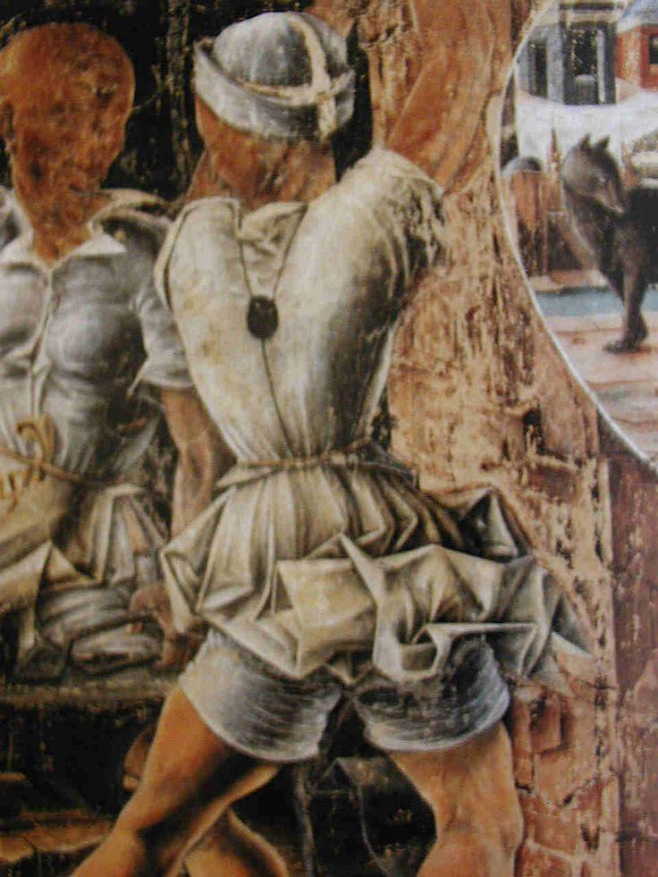 "Cosimo Tura, Vulcan's Smithy, from ""September"", 1466-1470. Hall of the Months, Palazzo Schifanoia, Ferrara. Brache: Boxer shorts!"