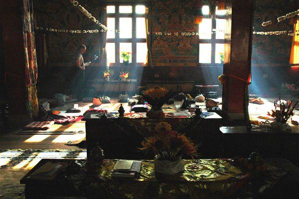 inside Tharlam Monastery of Tibetan Buddhism, Kathamndu. By Wonderlane