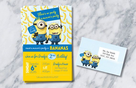 Minion Birthday Invitations/ Party Invitations/ Minion's Birthday Party/ Minions birthday invitations for twins