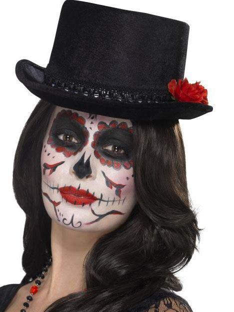 Sombrero de copa negro adulto Día de los Muertos en 2018  14a95fa6b76