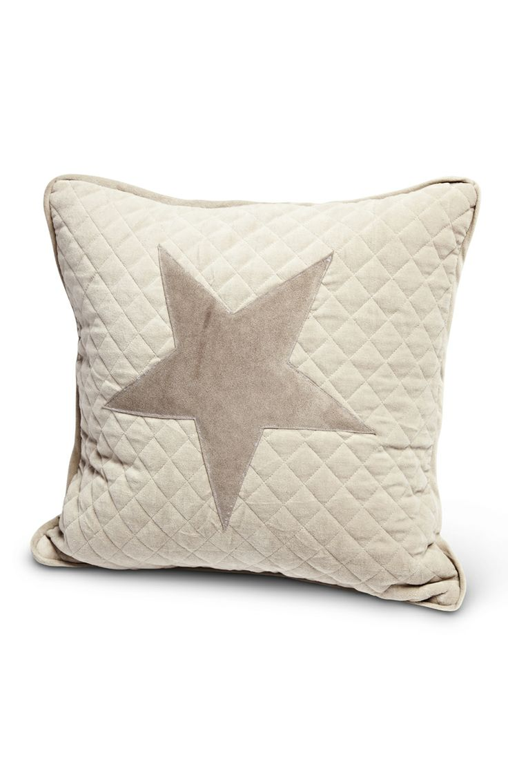 Florence Design pillow in quilted velvet with suede leather patch in beige!