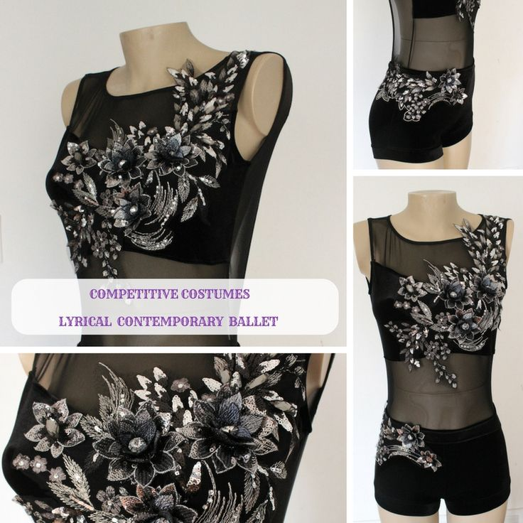 Stunning black and silver one piece competitive solo costume. Perfect for lyrical and contemporary dance performance. One of a kind, unique handcrafted piece of art.