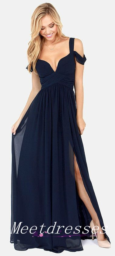 Navy Blue Bridesmaid Dress For Wedding Long Chiffon Formal With Straps Sleeves…