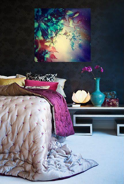 cosmic flowers brusho painting in bedroom https://www.facebook.com/RebeccaYoxallArt