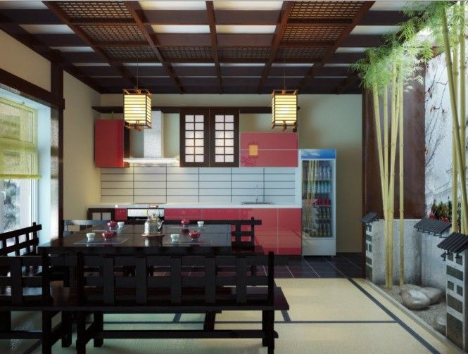 Red black Japanese inspired kitchen dining space